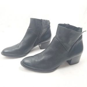 Paul Green Nelly Bootie Black Leather Stacked Heel